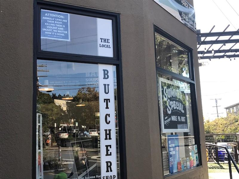 """""""The Local Butcher Shop"""" in Berkeley, California, shown in this handout photo from Direct Action Everywhere, was besieged by anti-meat demonstrators for months"""