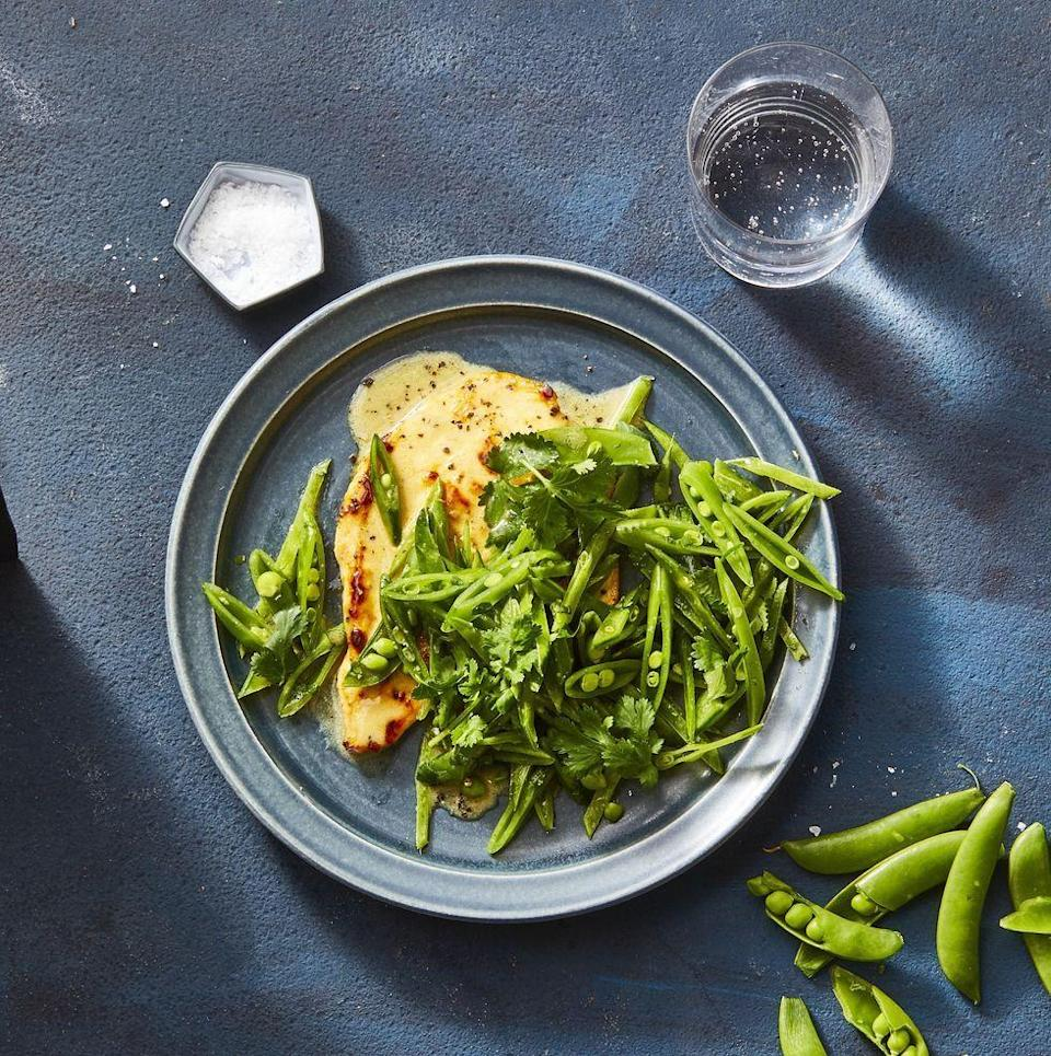 """<p><a href=""""https://www.goodhousekeeping.com/food-recipes/healthy/g4056/healthy-chicken-dinners/"""" rel=""""nofollow noopener"""" target=""""_blank"""" data-ylk=""""slk:Step up an ordinary chicken breast"""" class=""""link rapid-noclick-resp"""">Step up an ordinary chicken breast</a> by pairing it with sliced raw snap peas.</p><p><em><a href=""""https://www.goodhousekeeping.com/food-recipes/healthy/a27255965/seared-coconut-lime-chicken-with-snap-pea-slaw-recipe/"""" rel=""""nofollow noopener"""" target=""""_blank"""" data-ylk=""""slk:Get the recipe for Seared Coconut-Lime Chicken with Snap Pea Slaw »"""" class=""""link rapid-noclick-resp"""">Get the recipe for Seared Coconut-Lime Chicken with Snap Pea Slaw »</a></em></p>"""