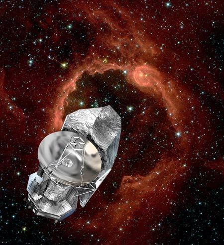 Artist impression of the Herschel spacecraft, which will an unprecedented view of the cold universe, bridging the gap between what can be observed in the infrared from the ground and earlier space missions of this kind.