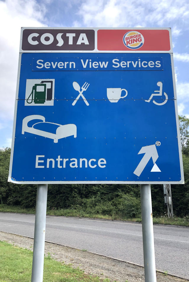Road sign showing Severn View services. Severn View services on the M48 has been ranked the least popular in England in a survey by watchdog Transport Focus.