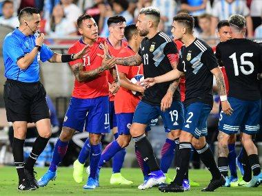 Lionel Messi-less Argentina held to goalless draw by Chile in fiery friendly match