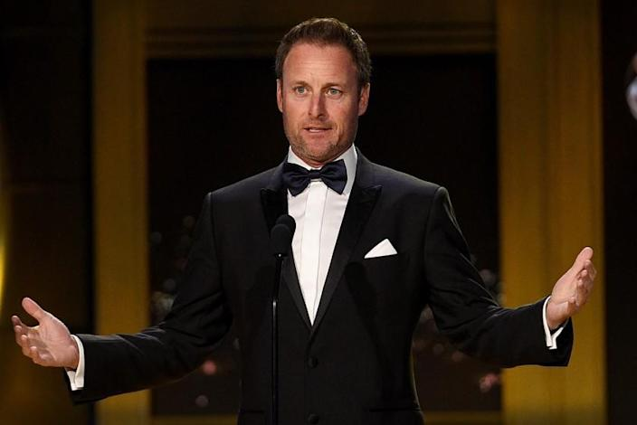 PASADENA, CA - APRIL 29: Chris Harrison speaks onstage during the 45th annual Daytime Emmy Awards at Pasadena Civic Auditorium on April 29, 2018 in Pasadena, California. (Photo by Kevork Djansezian/Getty Images)