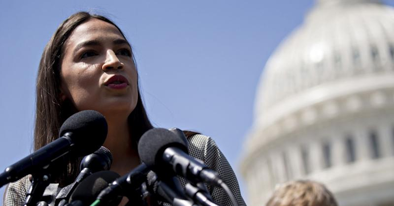 Representative Alexandria Ocasio-Cortez, a Democrat from New York, speaks during a news conference announcing college affordability legislation on Capitol Hill in Washington, D.C., U.S., on Monday, June 24, 2019. Democratic presidential hopeful Bernie Sanders is proposing to cancel the nation's outstanding $1.6 trillion of student debt and offsetting the cost with a tax on Wall Street transactions.