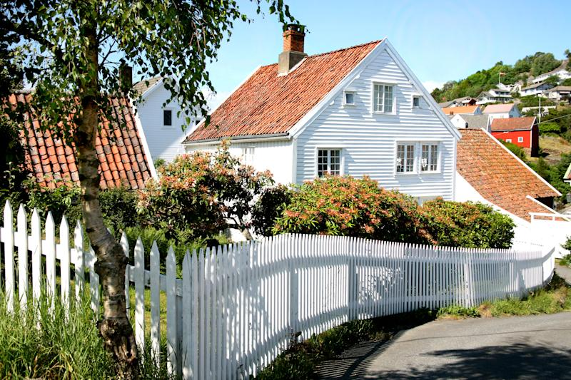 White wooden house in a small Norwegian town