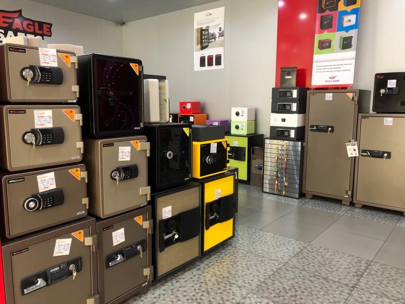Safes are displayed on sale in Shehab Security shop in Beirut