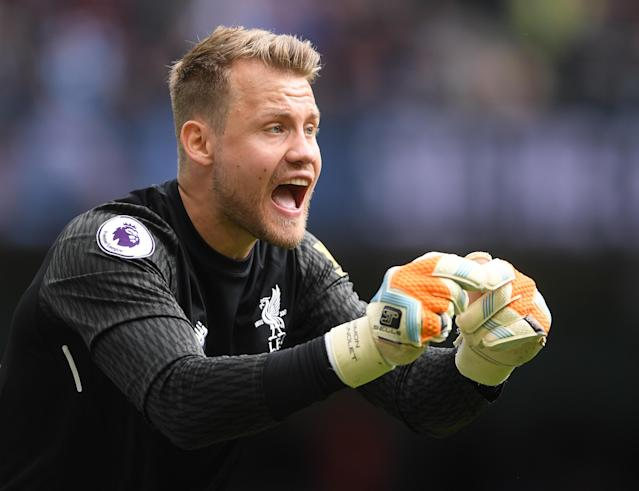 Liverpool goalkeeper Simon Mignolet during the Premier League match between Manchester City and Liverpool at Etihad Stadium on September 9, 2017 in Manchester, England.