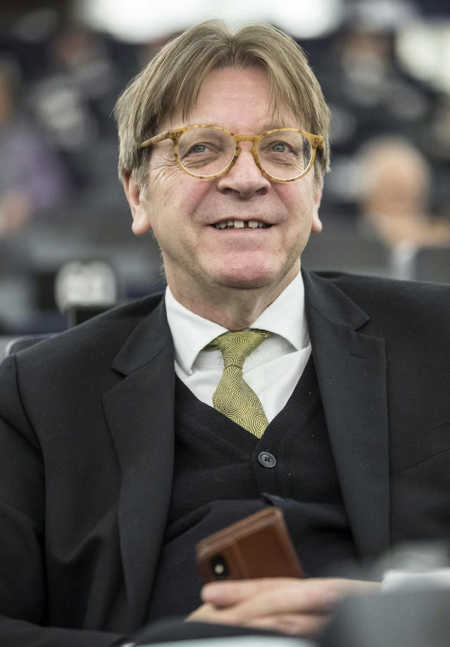 """European Parliament Brexit chief Guy Verhofstadt smiles during a debate at the European Parliament, Wednesday, Jan.16, 2019 in Strasbourg, eastern France. EU chief Brexit negotiator Michel Barnier says the bloc is stepping up preparations for a chaotic no-deal departure of Britain from the bloc after the rejection of the draft withdrawal deal in London left the EU """"fearing more than ever that there is a risk"""" of a cliff-edge departure. (AP Photo/Jean-Francois Badias)"""