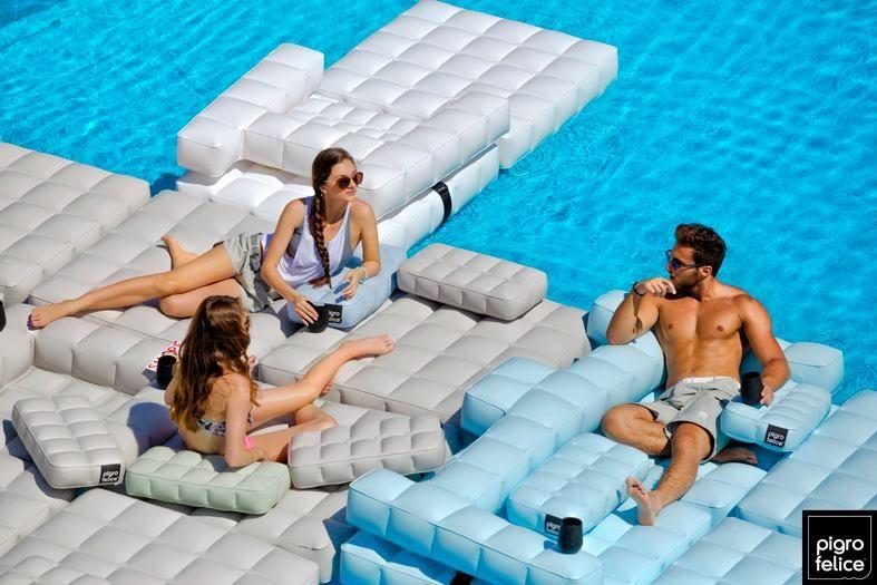 Inflatable pods transform from patio lounges to chairs, pool floats and more