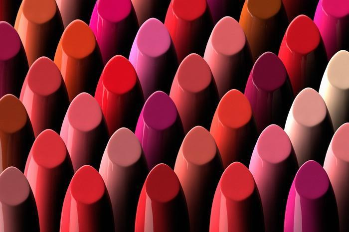 The tips of dozens of different-colored lipsticks.