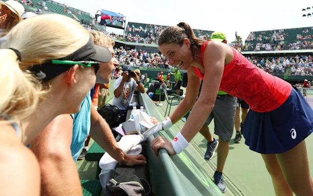 <span>Johanna Konta's autograph is now in demand</span> <span>Credit: GETTY IMAGES </span>