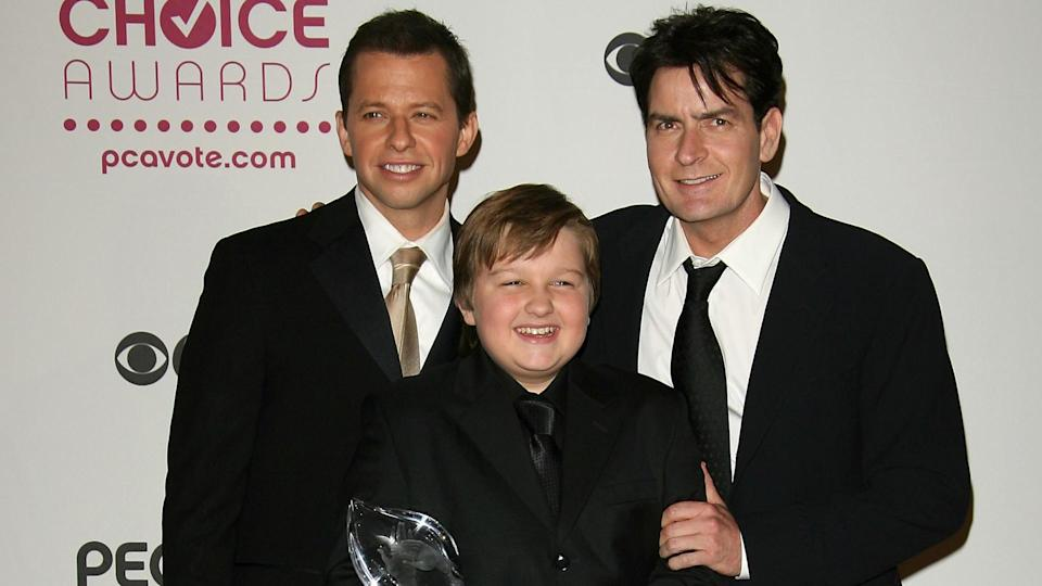 """LOS ANGELES, CA - JANUARY 09:  (L-R) """"Two and a Half Men"""" cast members, Jon Cryer, Angus T."""