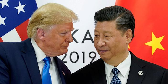 """President Donald Trump and Chinese President Xi Jinping at the start of their bilateral meeting at the G20 leaders summit in Osaka, Japan, June 29, 2019. <p class=""""copyright"""">REUTERS/Kevin Lamarque/File Photo/File Photo</p>"""