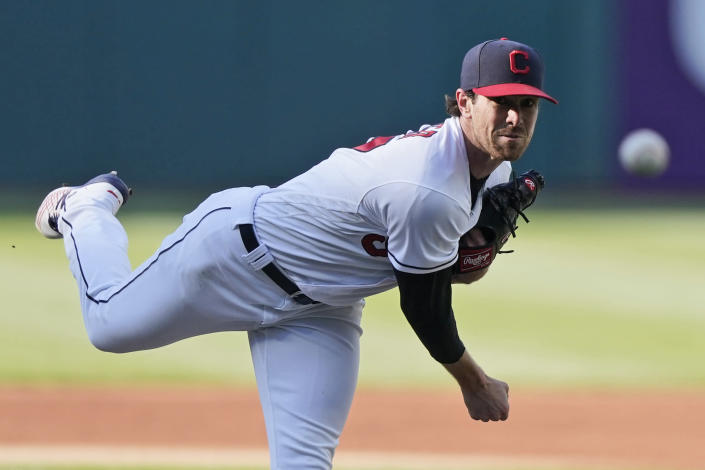Cleveland Indians starting pitcher Shane Bieber delivers in the first inning of a baseball game against the Chicago Cubs, Tuesday, May 11, 2021, in Cleveland. (AP Photo/Tony Dejak)