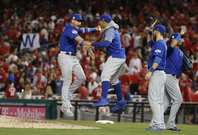 The Cubs are hoping to celebrate an NLDS win over the Nationals soon. (AP Photo)