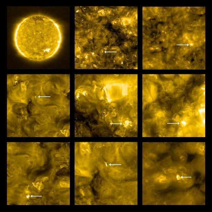 A series of images from the ESA/NASA Solar Orbiter show small, hot