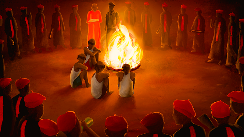 Illustration of cult initiation ceremony