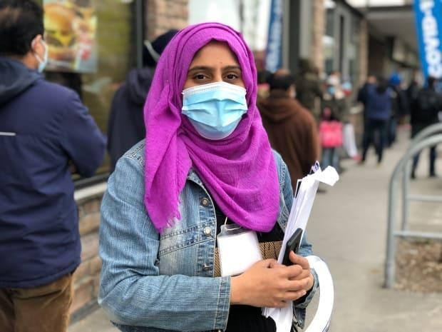 Shahista Hussein, 34, has been volunteering for the Park Extension Round Table to share information about COVID-19 testing and vaccination with residents. (Verity Stevenson/CBC - image credit)