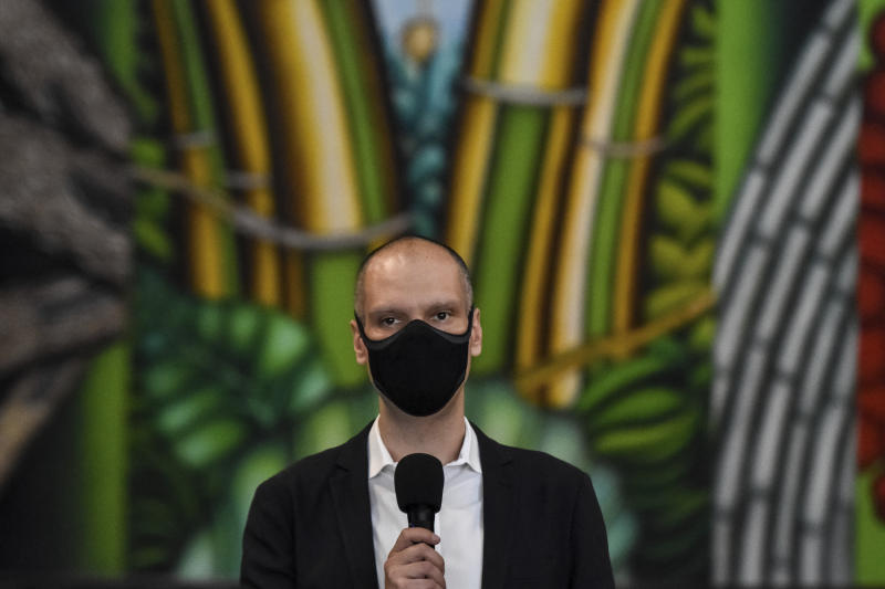 Bruno Covas, (PSDB) Mayor of São Paulo, during a press conference on measures to combat the Coronavirus, (COVID-19) on Sept. 18, 2020 at the Palácio dos Bandeirantes in Sao Paulo, Brazil. During the press conference, Governor João Doria confirmed that the plan for optional resumption of staggered face-to-face classes is maintained for October 7 for high school students and Youth and Adult Education (EJA) of the state network. (Photo: Roberto Casimiro/Fotoarena/Sipa USA)(Sipa via AP Images)