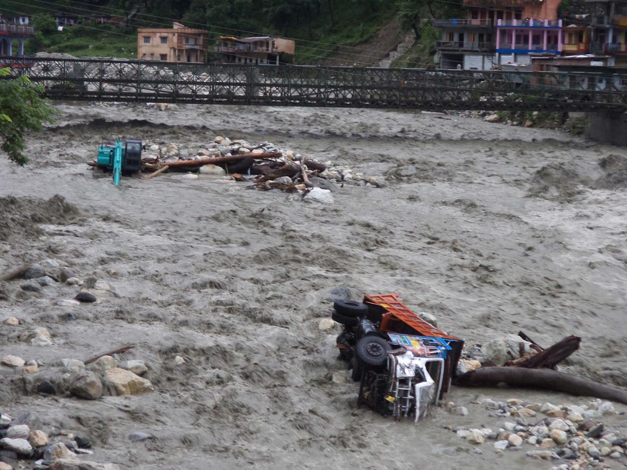 UTTARAKASHI, INDIA - JUNE 16: The destructive Assi Ganga River on June 16, 2013 in Uttarakashi,  India. 11 people died, nearly 50 were missing and thousands stranded in landslides set off by the incessant downpour in Uttarakhand. ( Photo by Santosh Bhatt/Hindustan Times via Getty Images)