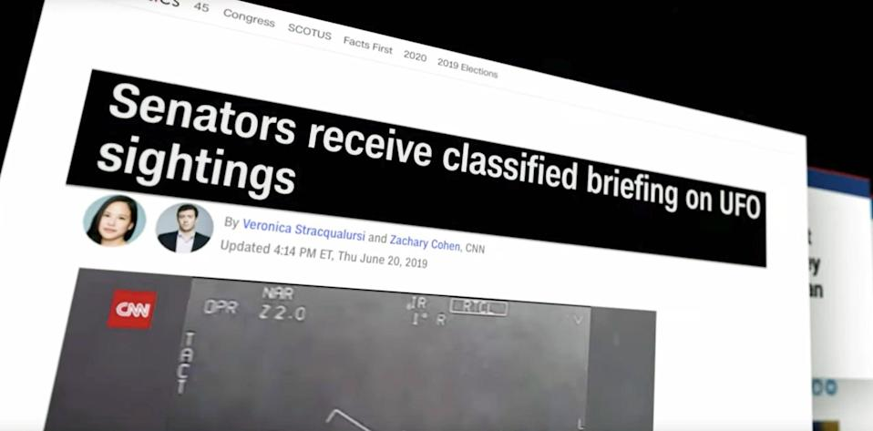 "<p>The Pentagon released three short videos showing ""<a href=""https://www.cnn.com/2020/04/27/politics/pentagon-ufo-videos/index.html"" class=""link rapid-noclick-resp"" rel=""nofollow noopener"" target=""_blank"" data-ylk=""slk:unidentified aerial phenomena"">unidentified aerial phenomena</a>,"" essentially acknowledging the existence of UFOs. </p>"