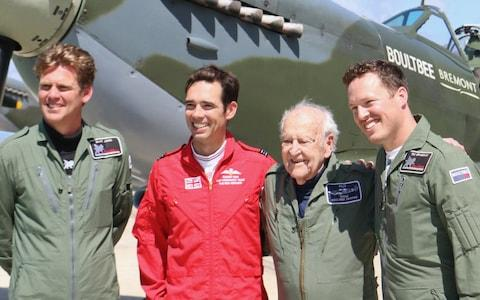 Owen Hardy (third from left) took to the skies in a spitfire at the age of 95 back in July - Credit: Emmet Cox/Solent News & Photo Agency