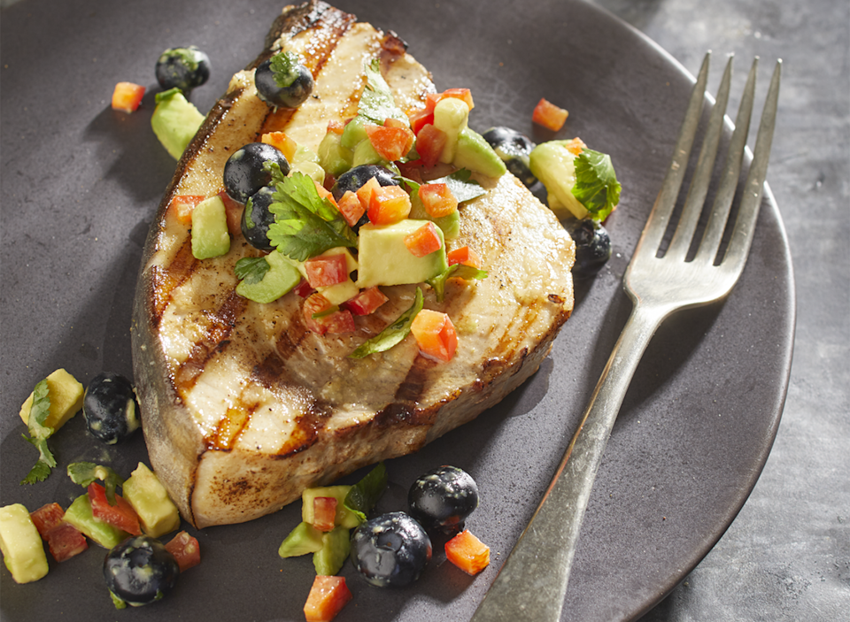 seared ginger cumin swordfish with blueberry avocado salsa
