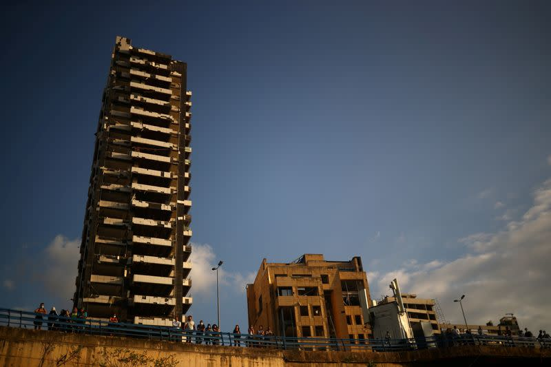 FILE PHOTO: A view shows damaged buildings near the site of the blast at the Beirut's port area