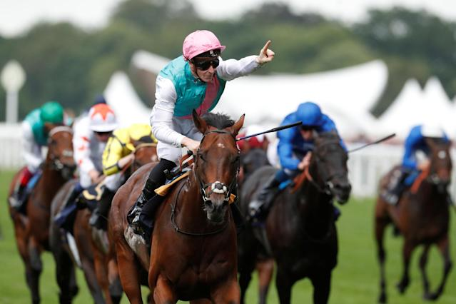 Horse Racing - Royal Ascot - Ascot Racecourse, Ascot, Britain - June 20, 2018 James McDonald on Expert Eye celebrates winning the 5.35 Jersey Stakes Action Images via Reuters/Andrew Boyers
