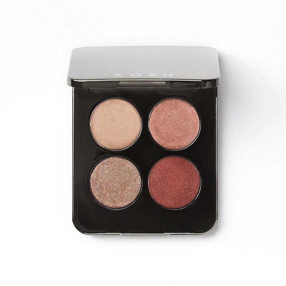 """<p>Róen's Mood 4Ever Palette is designed to be a hero palette complete with four versatile, cream-powder hybrid shades (known as lid illumes) that give off a """"<a href=""""https://www.allure.com/story/how-to-get-glass-skin-korean-beauty?mbid=synd_yahoo_rss"""" rel=""""nofollow noopener"""" target=""""_blank"""" data-ylk=""""slk:glass glow"""" class=""""link rapid-noclick-resp"""">glass glow</a>"""" like finish. While you can use brushes, these incredibly silky shades actually play really nicely with fingers, as the heat from your fingertips allow them to glide onto lids like butter — saving you some precious time.</p> <p>All four very wearable shades Cream (ivory cream), Elated (pale rose), Toasty (translucent taupe), and Impressions (shimmery maroon) are formulated with fine pearl flecks for just the right amount of illumination. Forget the 40-shade palettes; this might just become your new go-to.</p>"""
