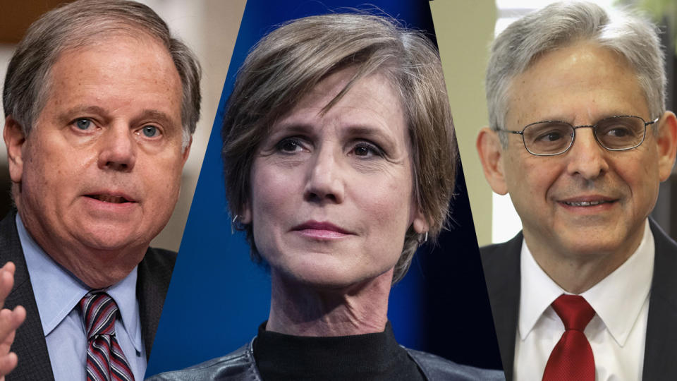 Senator Doug Jones, Sally Yates and Judge Merrick Garland. (Alex Edelman/Pool/AFP via Getty Images, Victor J. Blue/Bloomberg via Getty Images, Chip Somodevilla/Getty Images)