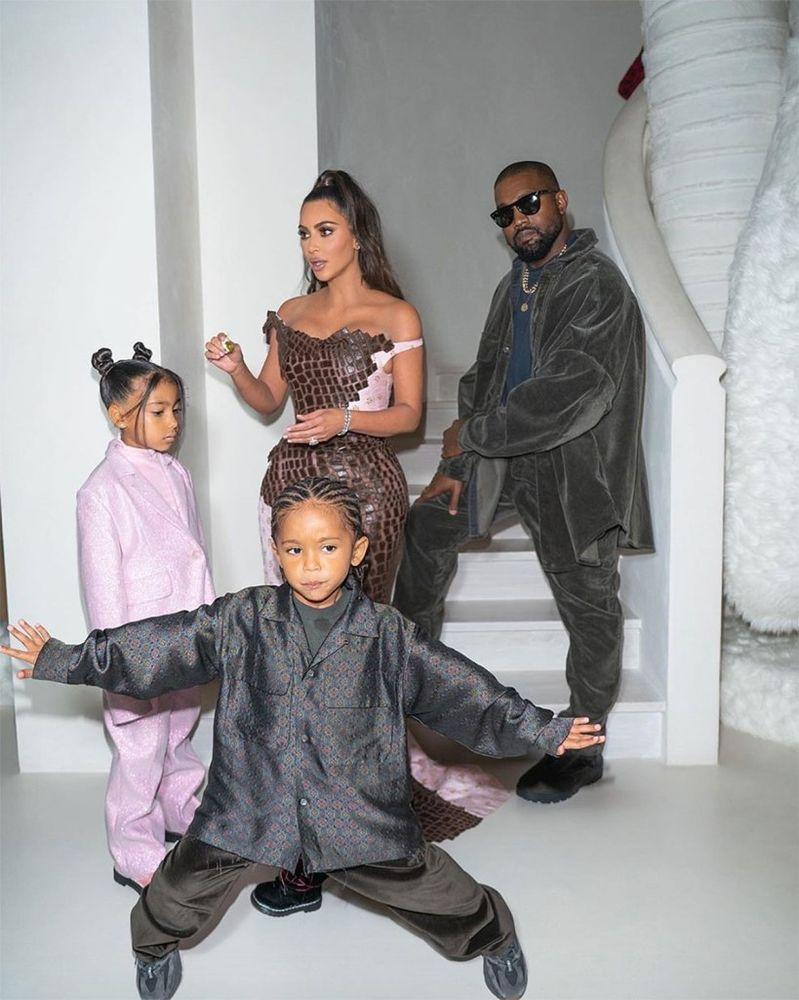 Kim Kardashian and Kanye West with daughter North and son Saint