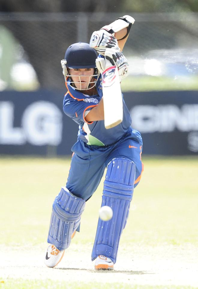 TOWNSVILLE, AUSTRALIA - AUGUST 16:  Smit Patel of India bats during the ICC U19 Cricket World Cup 2012 match between India and PNG at Endeavour Park on August 16, 2012 in Townsville, Australia.  (Photo by Ian Hitchcock-ICC/Getty Images)