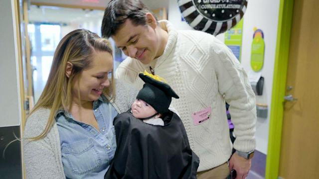 This baby celebrated his last day in the NICU with a touching graduation ceremony (ABC News)