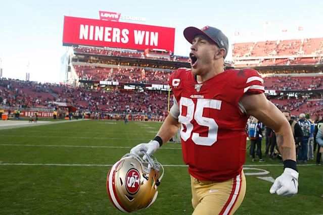 It's hard not to love George Kittle. (Photo by Lachlan Cunningham/Getty Images)