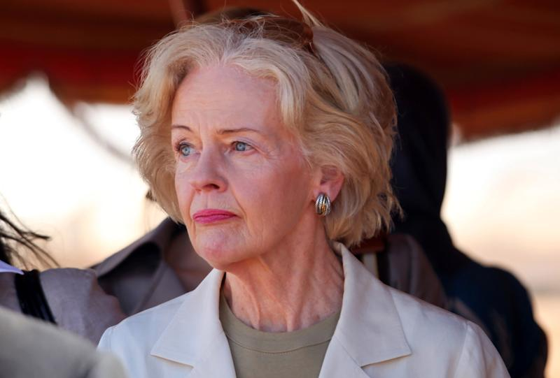 Quentin Bryce, the Australian Governor-General tours the Zaatari Syrian Refugee Camp, in Mafraq, Jordan, Sunday, Sept. 2, 2012. Bryce told the press that Australia has contributed 20 million in funds to support the refugees. (AP photo/Mohammad Hannon)