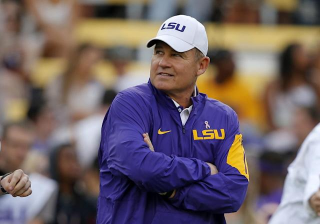 Les Miles is stepping up his search for new employment. (AP Photo/Gerald Herbert, File)