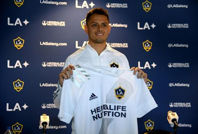 Javier Hernandez played down talk of retirement at his Los Angeles Galaxy unveiling on Thursday (AFP Photo/Harry How)