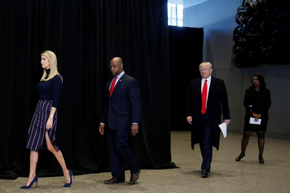 <p>For a visit on Feb. 21 to the National Museum of African American History and Culture on the National Mall in Washington, D.C., Ivanka Trump paired a $950 Altuzarra pencil skirt with a navy blue turtleneck. (Photo: Reuters) </p>