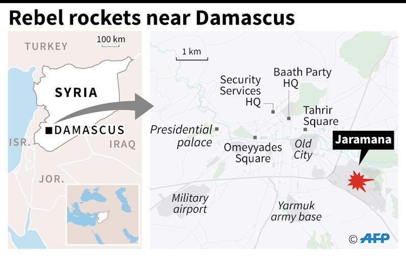 Map locating Jaramana in Syria, where rebel rockets smashed into a local market, killing at least two dozen people (AFP Photo/Omar KAMAL)