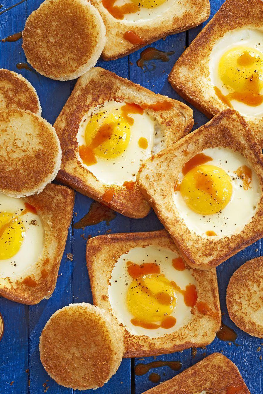 """<p>Wake up little ones on Easter morning with these fun-to-eat egg-in-a-holes. </p><p><strong><a href=""""https://www.countryliving.com/food-drinks/recipes/a41630/parmesan-egg-in-hole-recipe/"""" rel=""""nofollow noopener"""" target=""""_blank"""" data-ylk=""""slk:Get the recipe"""" class=""""link rapid-noclick-resp"""">Get the recipe</a>.</strong></p>"""