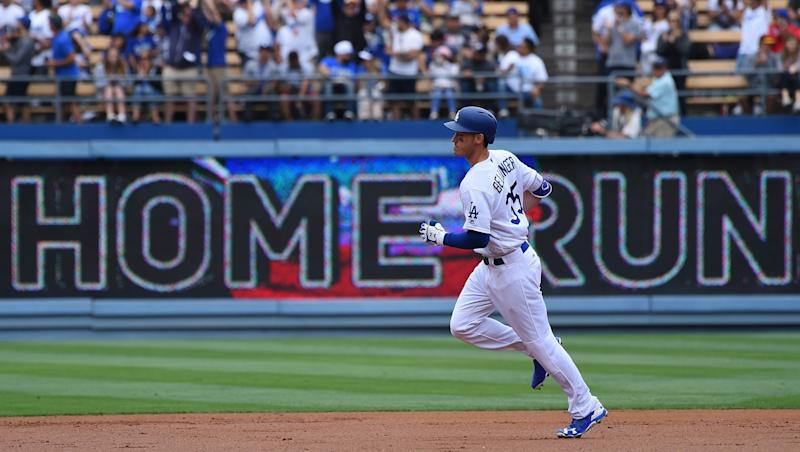 Cody Bellinger rounds the bases after a home run.