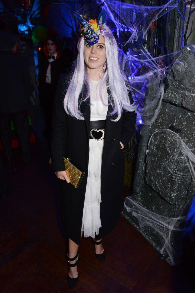 <p>Princess Beatrice dresses up as a unicorn for a Halloween party in London. </p>