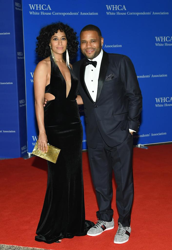 <p>Tracee Ellis Ross and Anthony Anderson arrive at the White House Correspondents' Dinner, April 30. <i>(Photo: Evan Agostini/Invision/AP)</i></p>