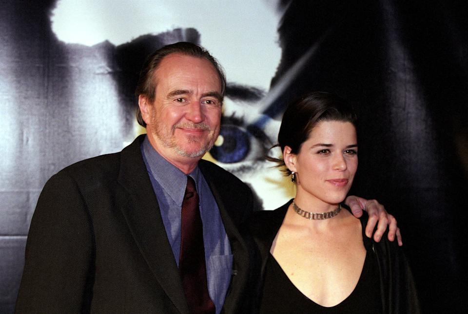 Wes Craven and Neve Campbell on the red carpet for 'Scream 3' in 2000. (Photo by Rat Romuald/Gamma-Rapho via Getty Images)