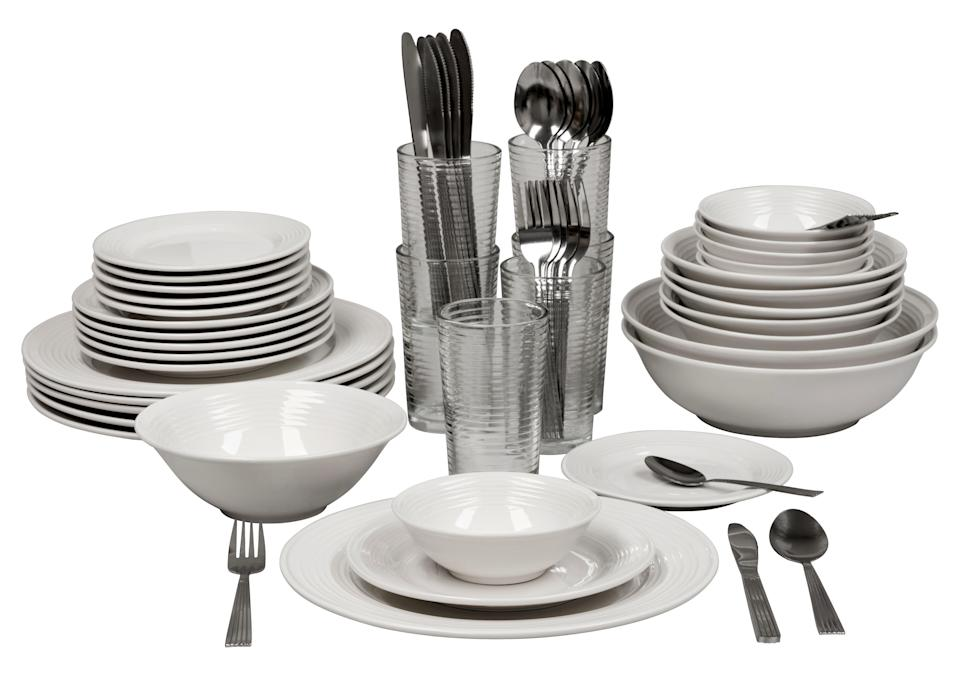 Ten Strawberry Street Nova White Round 62-Piece Dinnerware Set. (Photo: Walmart)