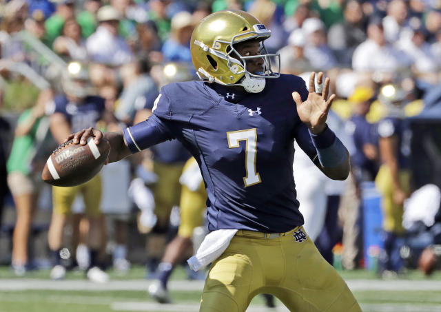 Quarterback Brandon Wimbush is back at the helm for Notre Dame. (AP)