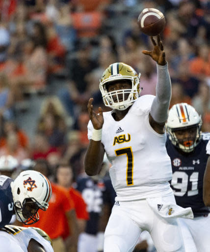 Alabama State quarterback Darryl Pearson, Jr. (7) throws during the first half against Auburn in an NCAA college football game Saturday, Sept. 8, 2018, in Auburn, Ala. (AP Photo/Vasha Hunt)