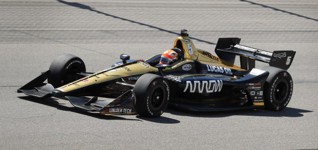 James Hinchcliffe (5) races his car during the IndyCar Series auto race Sunday, July 8, 2018, at Iowa Speedway in Newton, Iowa. (AP Photo/Charlie Neibergall)
