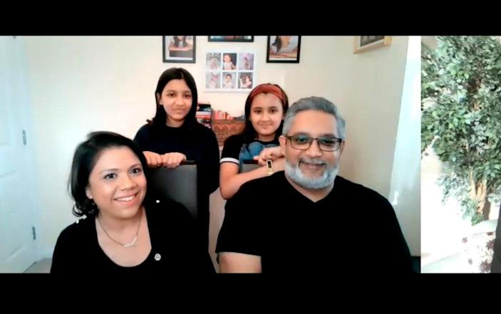 Shivali Modha (front left), Hiren Modha (front right) and their daughters Shyaama (top left) and Jyoti (top right) were also spoken to - PA