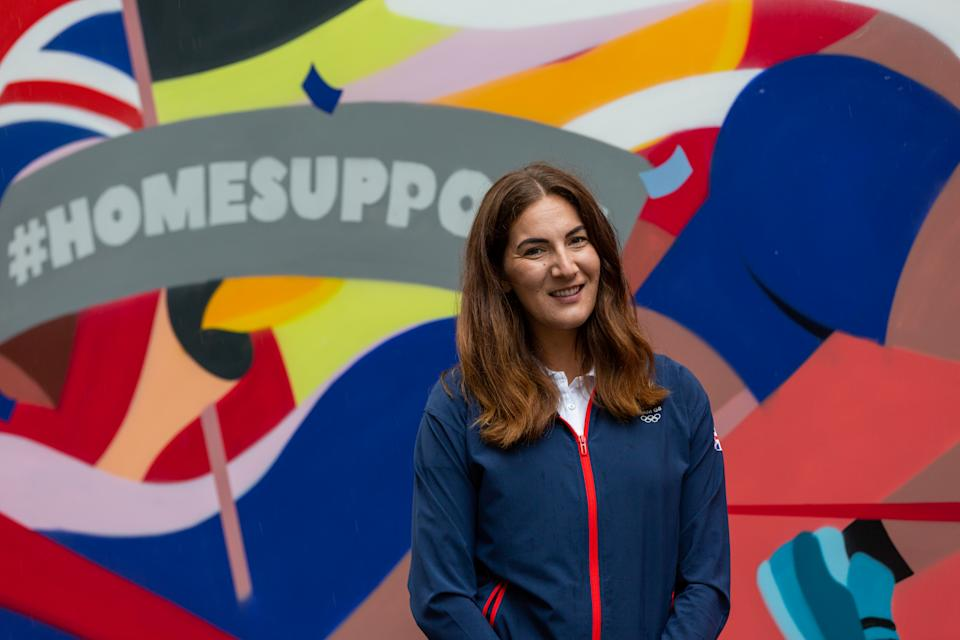 Sarah Stevenson at the unveiling of the mural in Manchester, as part of a campaign to support Team GB from home this year.